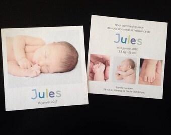 "Polaroid birth announcement personalized ""Jules"""
