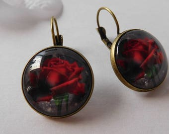 Cabochon 18 mm red Gothic Flower Earrings
