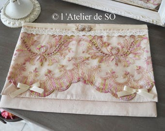 Pink romantic silk pouch