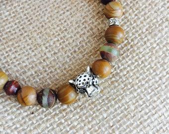 Bracelet gemstones, Jasper and agate with jaguar head