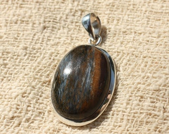 Pendant Silver 925 and Pietersite oval 21x21mm