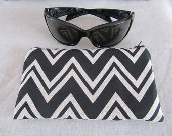 Black and beige chevron glasses case or pouch