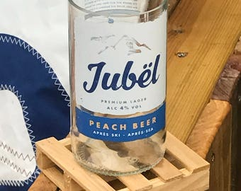 1 x Hand Finished, Recycled Beer Bottle Glass (Jubel Cornish Peach Lager)