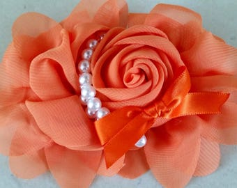 orange 1 flower applique with pearls 13 CMS to sew or glue
