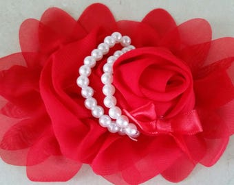 1 red flower with pearls 13 CMS applique for sewing or craft