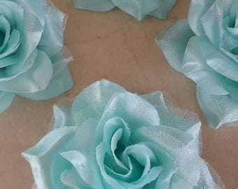 Green set of 4 appliques flowers of water 8/9 cm