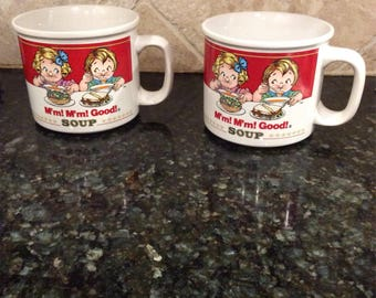 Retro Campbells Soup Mug, Pair of Campbells Big Mug, Campbells Mug, M'm! M'm Good! Soup Mug, Campbells Kids Mug, Soup Mug, Ad Mug, Red mug