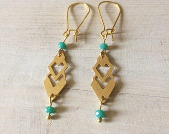 Geometric earrings gold and turquoise