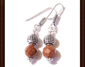 Earrings dangle Sunstone and Sterling Silver 925 - craft 25mm