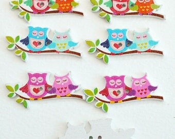 3 big buttons owls Couple on branch - 40 X 18 mm - 2 holes - OWL