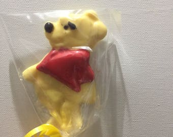 Winnie the Pooh chocolate lollipops, are great for your next party favour! At 24  per dozen thats only 2 a lollipop.
