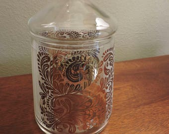 Vintage Mid Century Modern Glass Candy Jar with Lid White and Gold