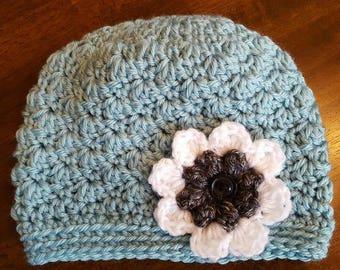 Handmade Crochet Hat with Flower