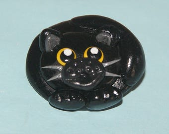 In boulle black kitty cat pin