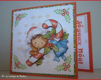 Greeting card: Christmas and 3D candy cane embroidery