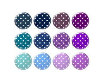Digital bottle cap images - Blue and purple polka dot images - 12 mm to 18 mm circles - Bottle cap jewelry patterns - Digital images