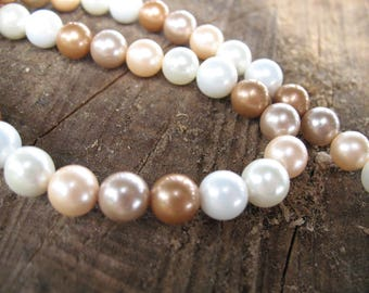 Multicolored 8 mm cultured pearls