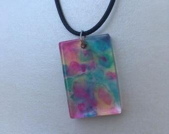 Multicolor rectangle pendant