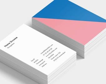 Pink Skyblue triangle business cards