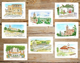 digitalized sheets of landscapes in watercolor of 29 x 21 cm. paper 300 gr, drawing, rural, 17 landscapes, Zufre