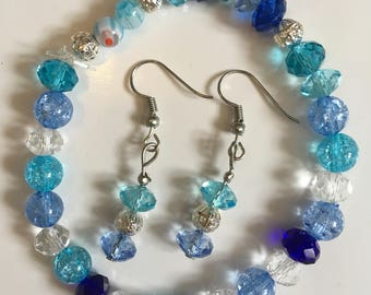 Blue sparkles bead bracelet and earring set