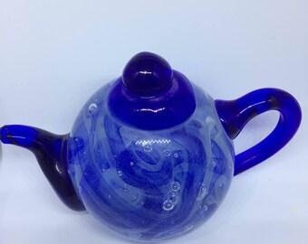 Glass little teapot, Teapot, Blue Glass Tea Pot, Glows in the dark glass tea pot, Tea Pot