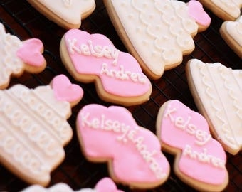Wedding Cookies, Bridal Shower Cookies, Heart Cookies