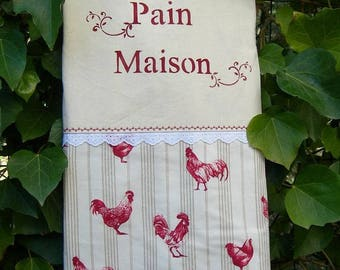 Bread country chic cotton bag with chickens and roosters and sign painting