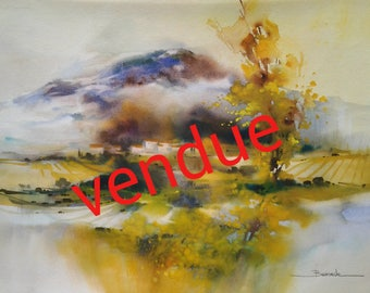 "Landscape watercolor painting ""this watercolor is no longer available on alm"""