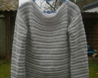 Boat neckline, fancy, light beige Wool Sweater