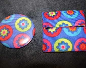 Flower pattern Pocket mirror and matching wallet