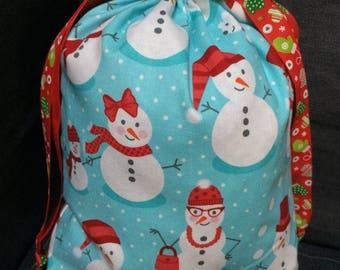 """Snowmen"" Christmas DrawString bag"