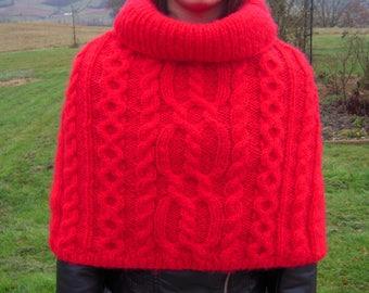 Red heater shoulder Irish knit stitch