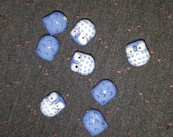 2 x Pearl porcelain little OWL / OWL lavender blue