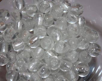 20 x hand made silver foil glass beads