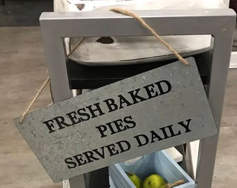 Fresh Baked Pies Sign, Galvanized Sign, Farmhouse Sign, Farmhouse Wall Decor, Kitchen Decor, Kitchen Wall Decor, Pie Sign, Magnolia Sign
