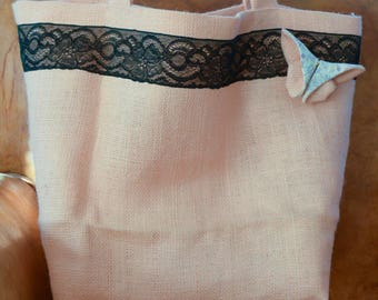 Beach linen and lace bag