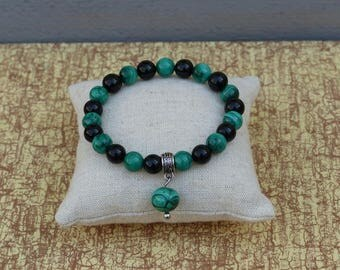 Malachite and tourmaline bracelet