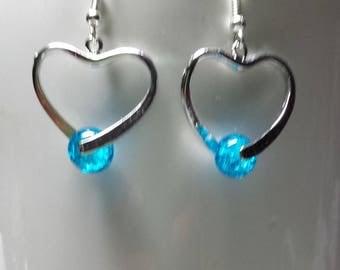 Dark turquoise heart earrings
