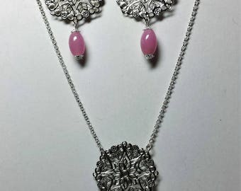 Set necklace earrings prints silver filigree and pink beads