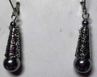 Hematite earrings silver Celtic style