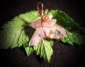 Raw Amethyst Double-Spear Rose Gold Wire Wrap Pendant