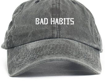 Bad Habits  Dad Hat Adjustable Baseball Cap New - Black Denim