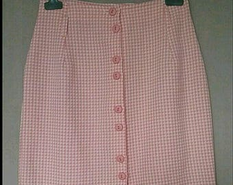 Coral houndstooth skirt / white Vintage in very good condition