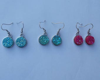 Beautiful dangle earrings silver hooks and round acrylic cabochon granite effect glitter red, green or turquoise gloss