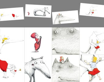 Set of 4 postcards on the theme of the Wolf