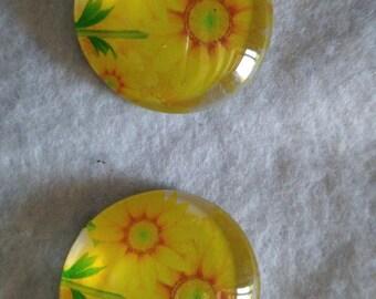 Set of 2 sunflower glass cabochons
