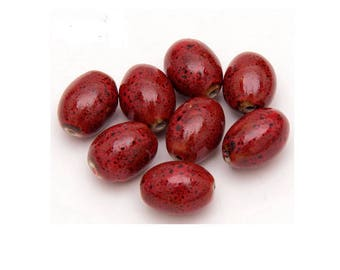 Set of 4 colors red-brown ceramic beads