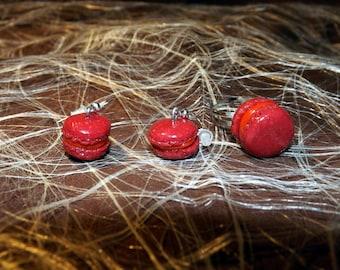 Set dangling earrings + ring adjustable Fuchsia polymer clay macaron