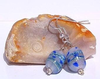 Touch blue glass earrings